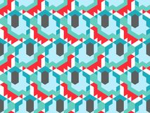 Abstract seamless pattern in isometric style. Mosaic of geometric shapes. Movement forms Stock Photo