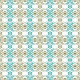 Abstract seamless pattern illustration of lacy leaves, florals and swirls in geometric layout. vector illustration