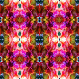 Abstract seamless pattern with layered stylized exotic flowers Stock Image