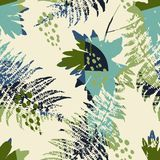 Abstract seamless pattern with leaves. Vector background for various surface. Trendy hand drawn textures Stock Images