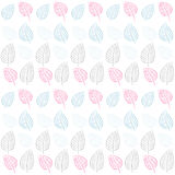 Abstract seamless pattern. Leaves.Blue, pink, gray Royalty Free Stock Photo