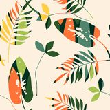 Abstract seamless pattern with leaves. Vector background for various surface. Trendy hand drawn textures royalty free illustration
