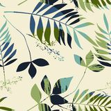 Abstract seamless pattern with leaves. Vector background for various surface. Trendy hand drawn textures stock illustration