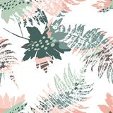 Abstract seamless pattern with leaves. Vector background for various surface. Trendy hand drawn textures Royalty Free Stock Photography