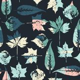 Abstract seamless pattern with leaves. Vector background for various surface. Trendy hand drawn textures Stock Photo