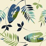 Abstract seamless pattern with leaves. Vector background for various surface. Trendy hand drawn textures vector illustration