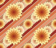 Abstract seamless pattern with lines and flowers. Stock Images