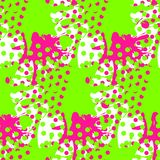 Abstract seamless pattern with liquid blots and geometric shapes.  royalty free illustration