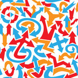 Abstract seamless pattern made of colorful arrows of various sha Royalty Free Stock Photo