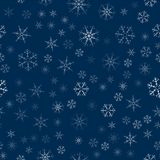 Abstract seamless pattern made of snowflakes on blue. Christmas background for design of posters, postcards, invitation for the ne. W year. Vector illustration Royalty Free Stock Images