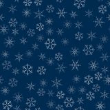 Abstract seamless pattern made of snowflakes on blue. Christmas background for design of posters, postcards, invitation for the ne. W year. Vector illustration Stock Photography
