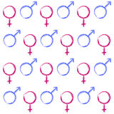 Abstract seamless pattern. Male and female symbols. Stock Photos
