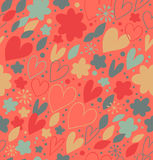 Abstract seamless pattern with many cute details. Decorative doodle background with hearts and flowers Royalty Free Stock Images