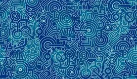 Abstract seamless pattern. Mechanisms, gears, bolts, cogs. Light and dark blue, white. Seamless abstract pattern. Mechanisms, gears, bolts, cogs. Light and dark stock image