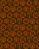 Abstract seamless pattern. Modern style linear floral motif. Abstract seamless pattern. Modern style motif. Linear floral geometric elements on brown background stock illustration
