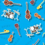 Abstract seamless pattern musical instruments guitar saxophone drum cello double bass,  image stock illustration