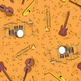 Abstract seamless pattern musical instruments and notes drum guitar tune. vector image vector illustration