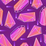 Abstract seamless pattern with neon colored crystals, minerals or faceted stones and their outlines on purple background. Vector illustration for wallpaper Stock Photos