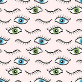 Abstract seamless pattern with open eyes. Royalty Free Stock Photo