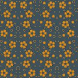 Abstract seamless pattern with orange bubbles and flowers. royalty free illustration