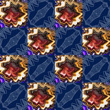 Abstract seamless pattern with ornamental squares. Stock Photography