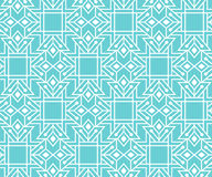 Abstract seamless pattern with outlined geometric ornament. White and blue color palette. Minimalistic ornate background. Creative ethnic line style Stock Photography