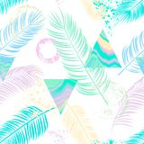 Abstract  seamless pattern with palm leaf, triangles, ornament,. Doodle and grunge textures Stock Photos