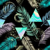 Abstract  seamless pattern with palm leaf, triangles, ornament,. Doodle and grunge textures Stock Photography