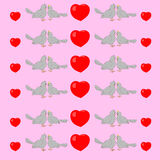 Abstract seamless pattern with pigeons and hearts. Royalty Free Stock Photography