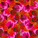 Fire pattern with butterflies. Abstract seamless pattern with pink orange flowers of lilies and butterflies, vivid flower background Royalty Free Stock Image