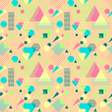 Abstract seamless pattern in postmodern Memphis Style on beige Royalty Free Stock Photography