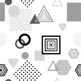 Abstract seamless pattern in postmodern Memphis Style  black  grey on white Royalty Free Stock Image