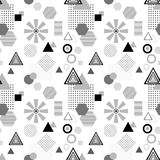 Abstract seamless pattern in postmodern Memphis Style  black  grey on white Stock Image