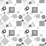 Abstract seamless pattern in postmodern Memphis Style  black  grey on white Royalty Free Stock Photo