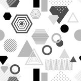 Abstract seamless pattern in postmodern Memphis Style  black  grey on white Royalty Free Stock Photography
