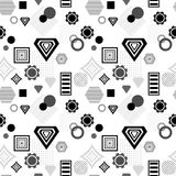 Abstract seamless pattern in postmodern Memphis Style  black  grey on white Royalty Free Stock Photos