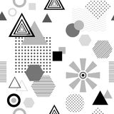 Abstract seamless pattern in postmodern Memphis Style  black  grey on white Stock Photo