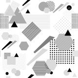 Abstract seamless pattern in postmodern Memphis Style  black  grey on white Royalty Free Stock Images