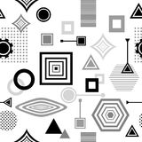 Abstract seamless pattern in postmodern Memphis Style  black  grey on white Stock Images