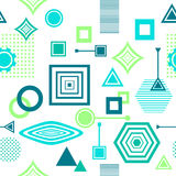 Abstract seamless pattern in postmodern Memphis Style blue green on White Royalty Free Stock Photography