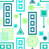 Abstract seamless pattern in postmodern Memphis Style blue green on White Royalty Free Stock Image