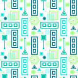 Abstract seamless pattern in postmodern Memphis Style blue green on White Royalty Free Stock Photo