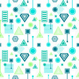 Abstract seamless pattern in postmodern Memphis Style blue green on White Stock Images