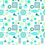 Abstract seamless pattern in postmodern Memphis Style blue green on White Stock Photos