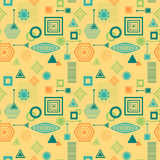 Abstract seamless pattern in postmodern Memphis Style blue green on yellow beige Royalty Free Stock Photo