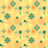 Abstract seamless pattern in postmodern Memphis Style blue green on yellow beige Royalty Free Stock Image