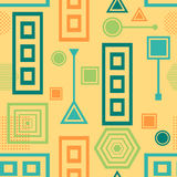 Abstract seamless pattern in postmodern Memphis Style blue green on yellow beige Royalty Free Stock Photography