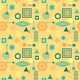 Abstract seamless pattern in postmodern Memphis Style blue green on yellow beige Royalty Free Stock Images