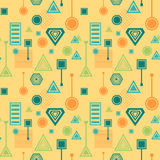 Abstract seamless pattern in postmodern Memphis Style blue green on yellow beige Stock Image