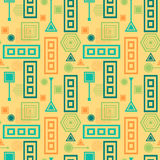 Abstract seamless pattern in postmodern Memphis Style blue green on yellow beige Stock Photography